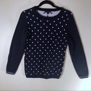 Tommy Hilfiger Navy Polka Dot Knit Sweater M